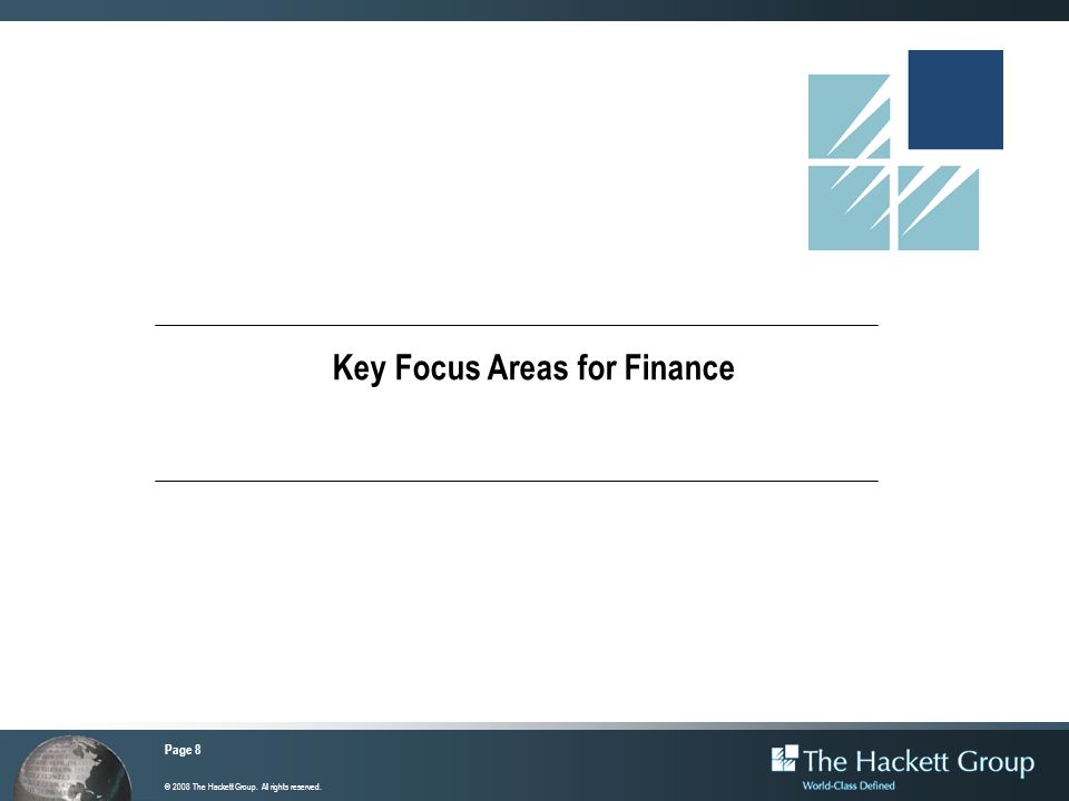 Key Focus Areas for Finance