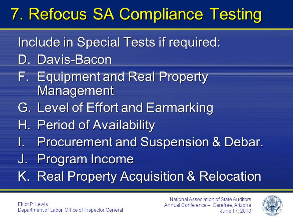 7. Refocus SA Compliance Testing