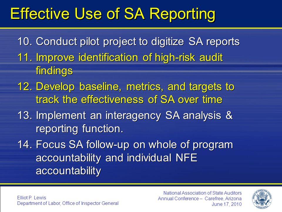 Effective Use of SA Reporting