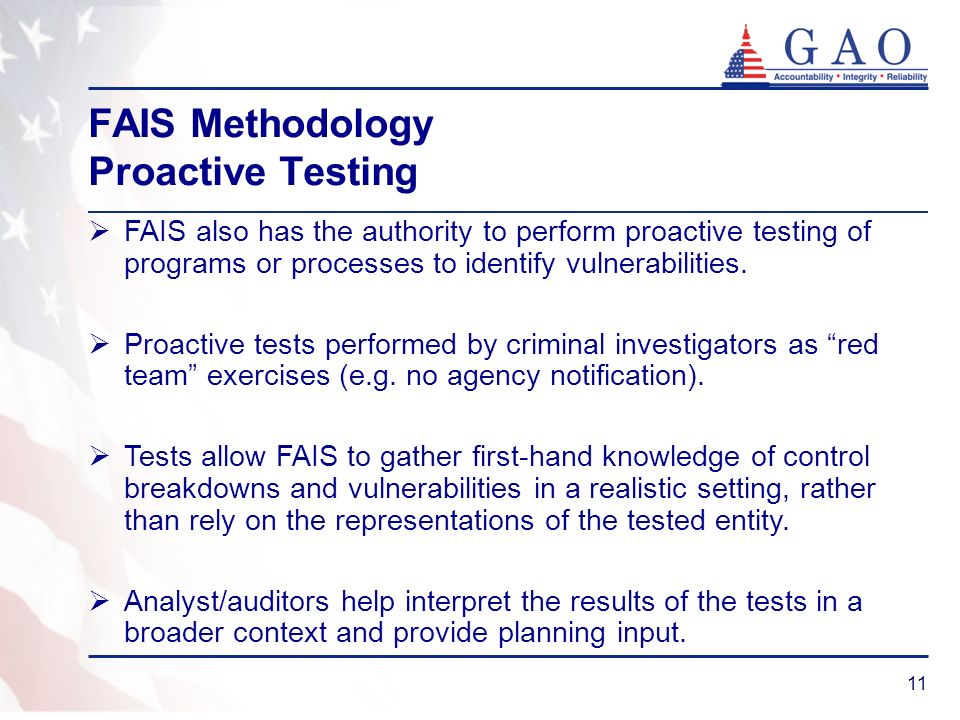 FAIS Methodology Proactive Testing
