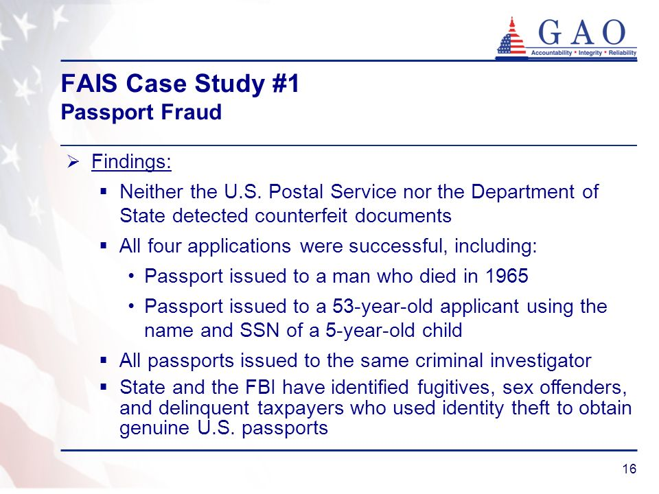 FAIS Case Study #1 Passport Fraud