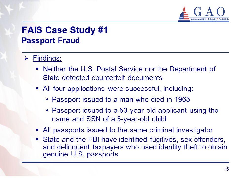 FAIS Case Study #1 Passport Fraud