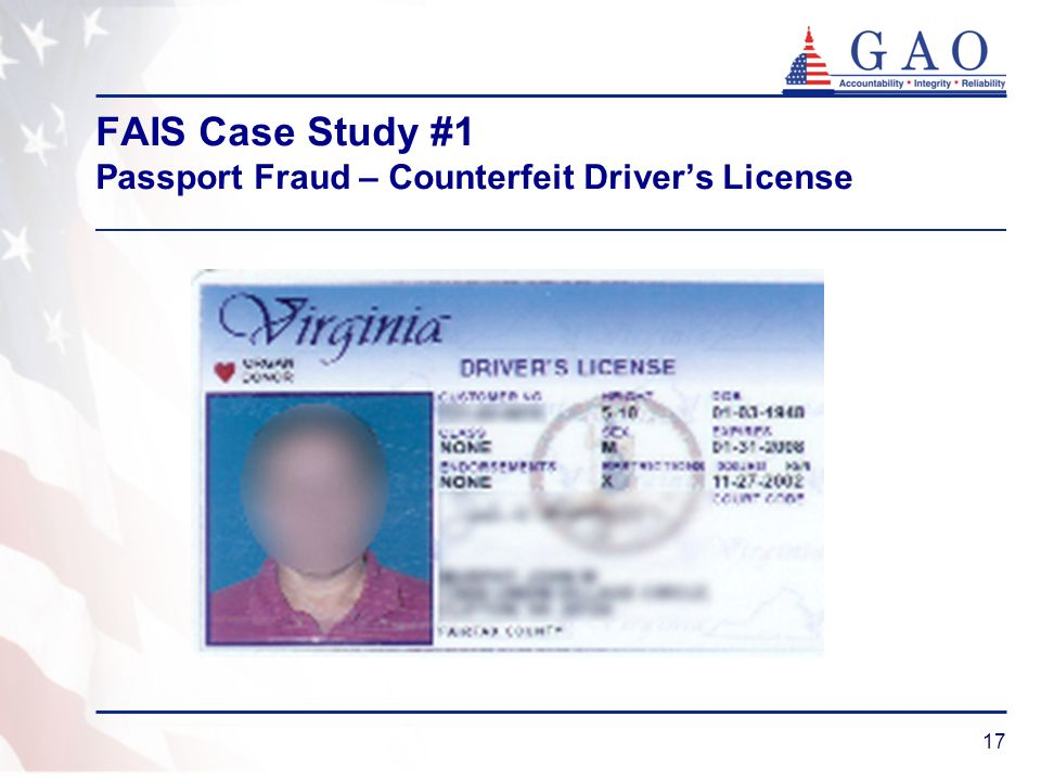 FAIS Case Study #1 Passport Fraud – Counterfeit Driver's License