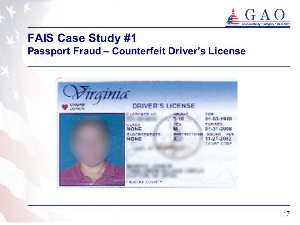 FAIS Case Study #1 Passport Fraud – Counterfeit Driver's License