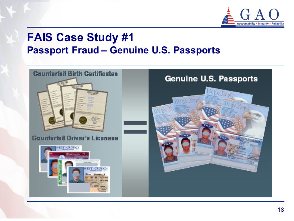 FAIS Case Study #1 Passport Fraud – Genuine U.S. Passports