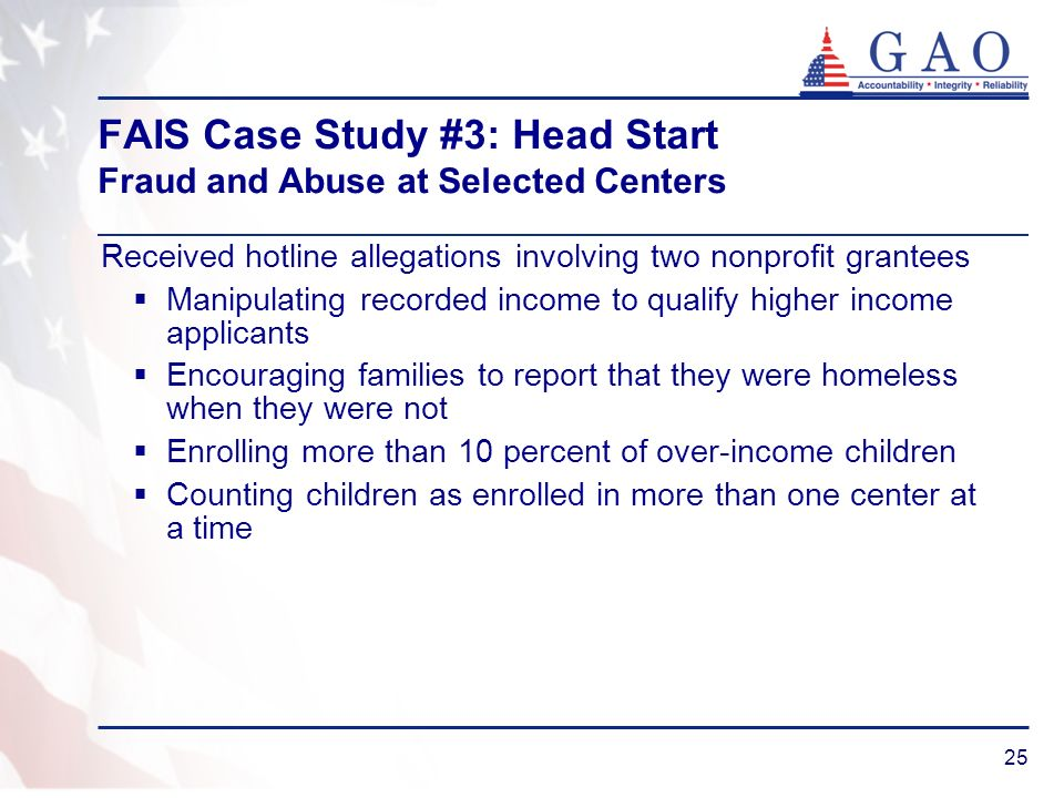 FAIS Case Study #3: Head Start Fraud and Abuse at Selected Centers