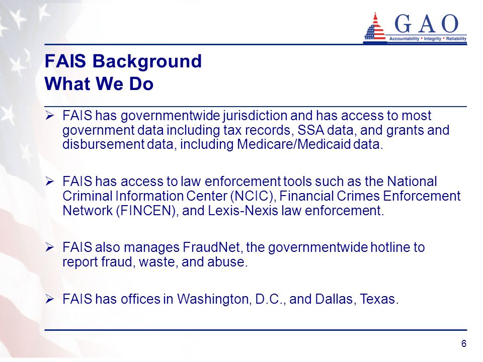 FAIS Background What We Do