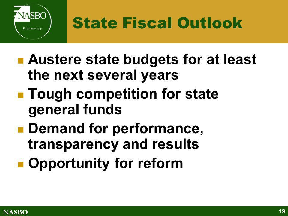 State Fiscal Outlook Austere state budgets for at least the next several years. Tough competition for state general funds.