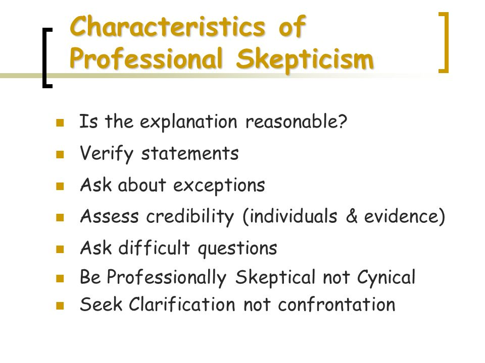 Characteristics of Professional Skepticism
