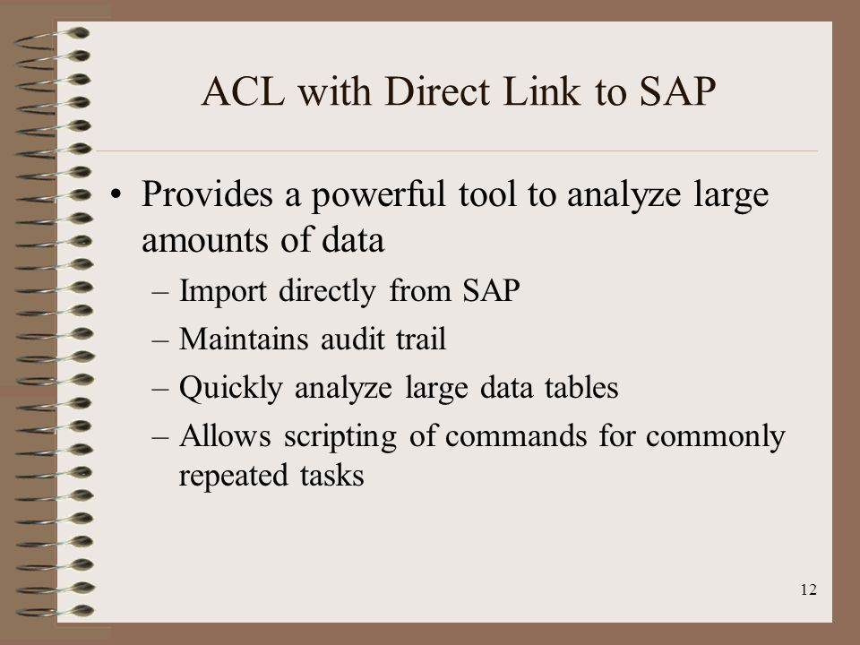 ACL with Direct Link to SAP