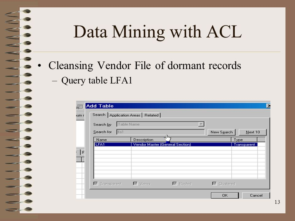 Data Mining with ACL Cleansing Vendor File of dormant records