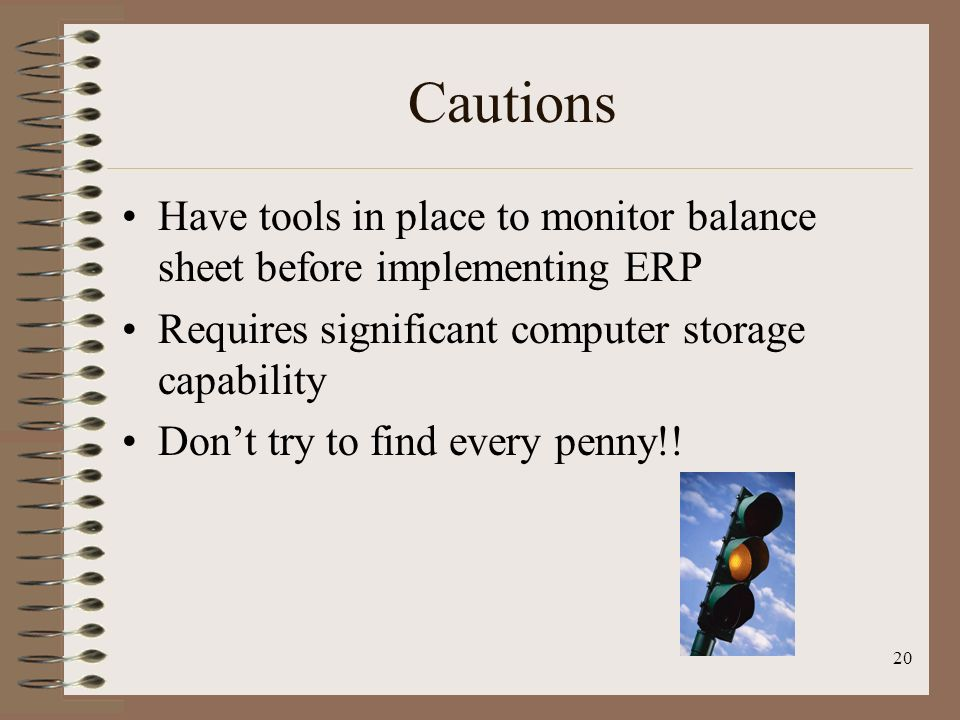 Cautions Have tools in place to monitor balance sheet before implementing ERP. Requires significant computer storage capability.