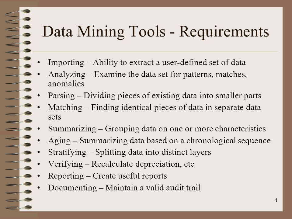 Data Mining Tools - Requirements