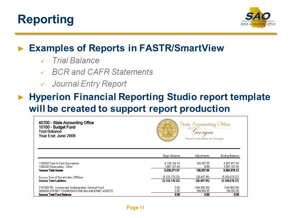 Reporting Examples of Reports in FASTR/SmartView