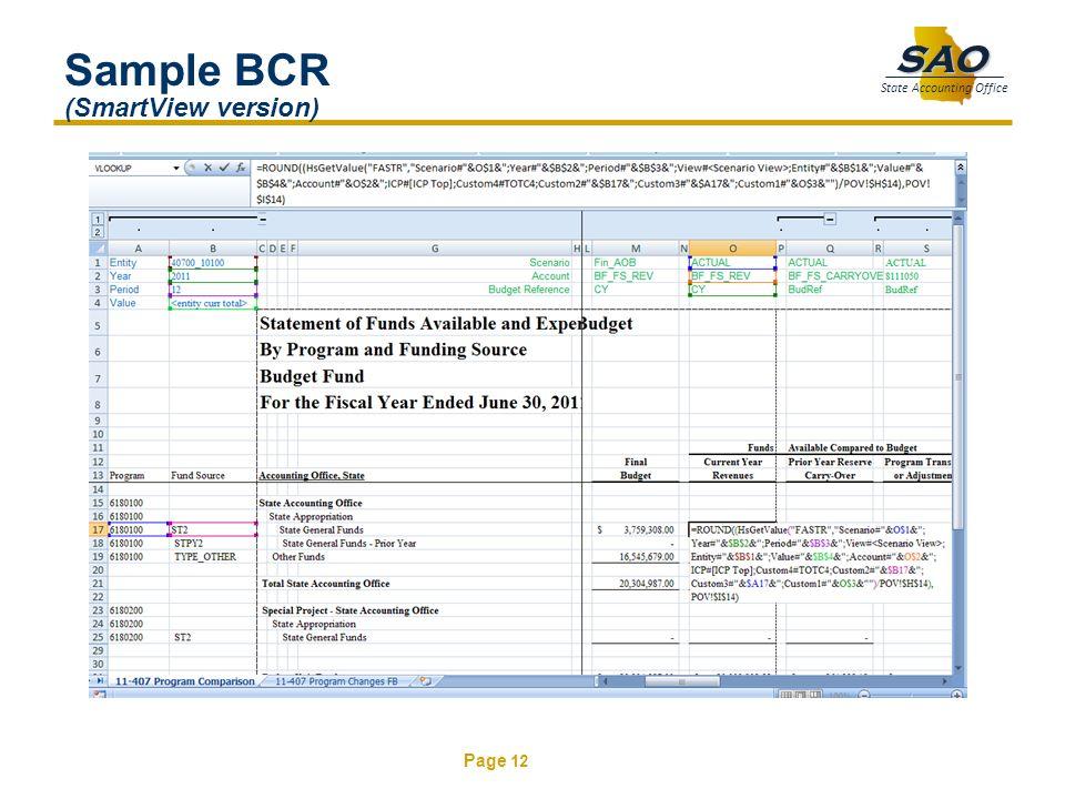 Sample BCR (SmartView version)