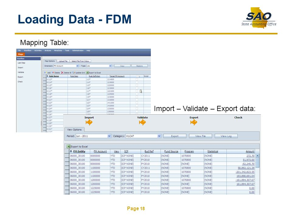 Loading Data - FDM Mapping Table: Import – Validate – Export data: