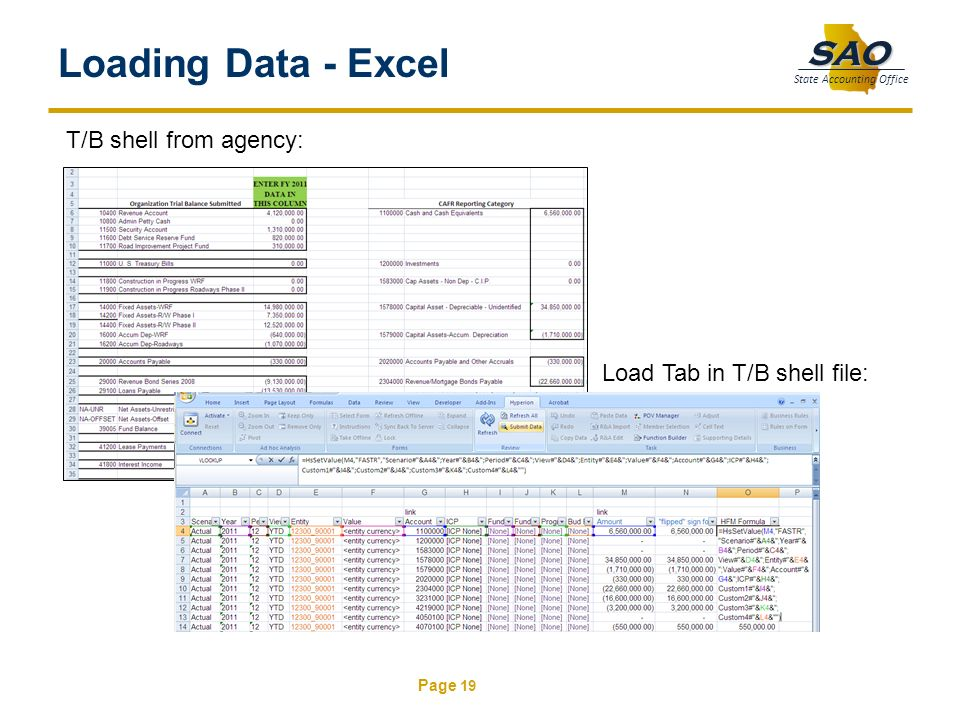 Loading Data - Excel T/B shell from agency: