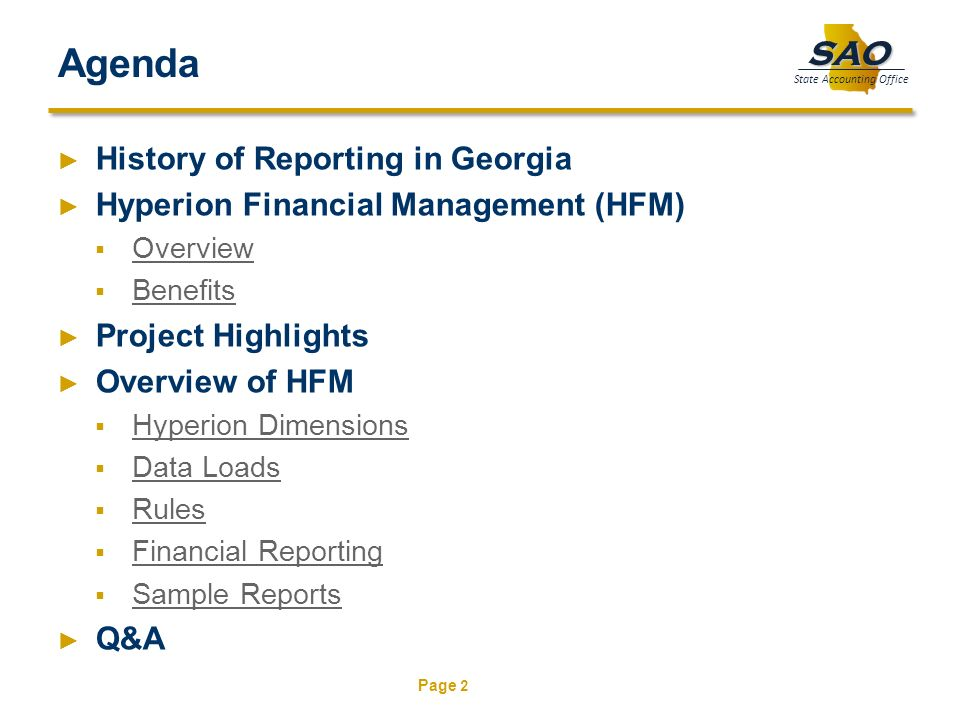 Agenda History of Reporting in Georgia