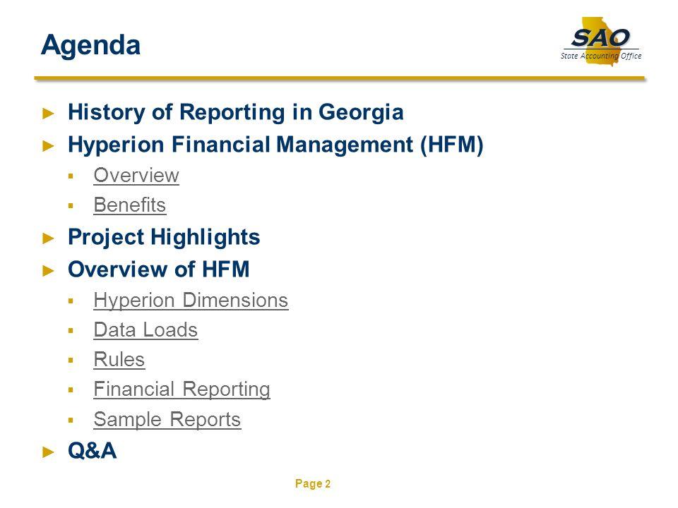 Agenda History of Reporting in Georgia
