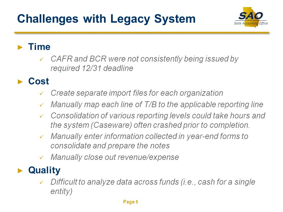 Challenges with Legacy System