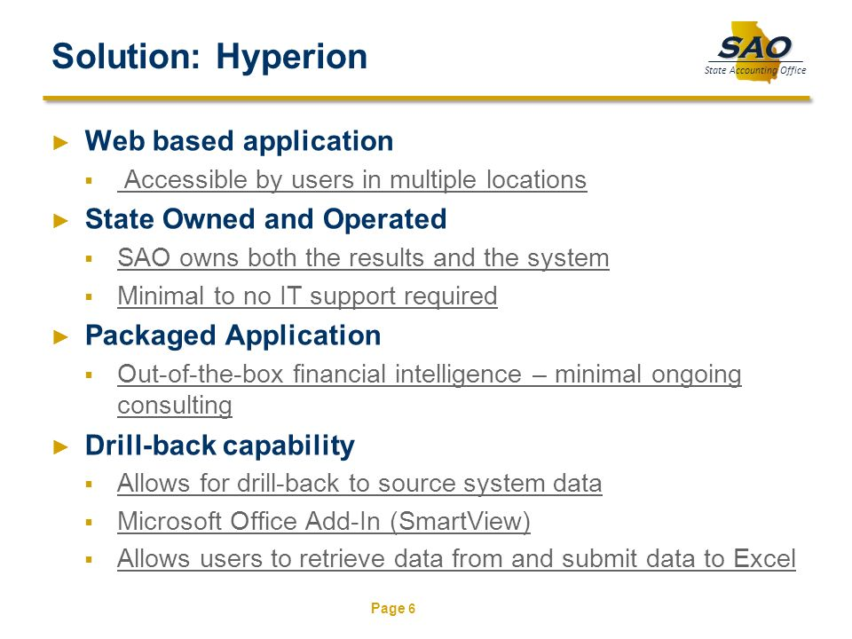 Solution: Hyperion Web based application State Owned and Operated