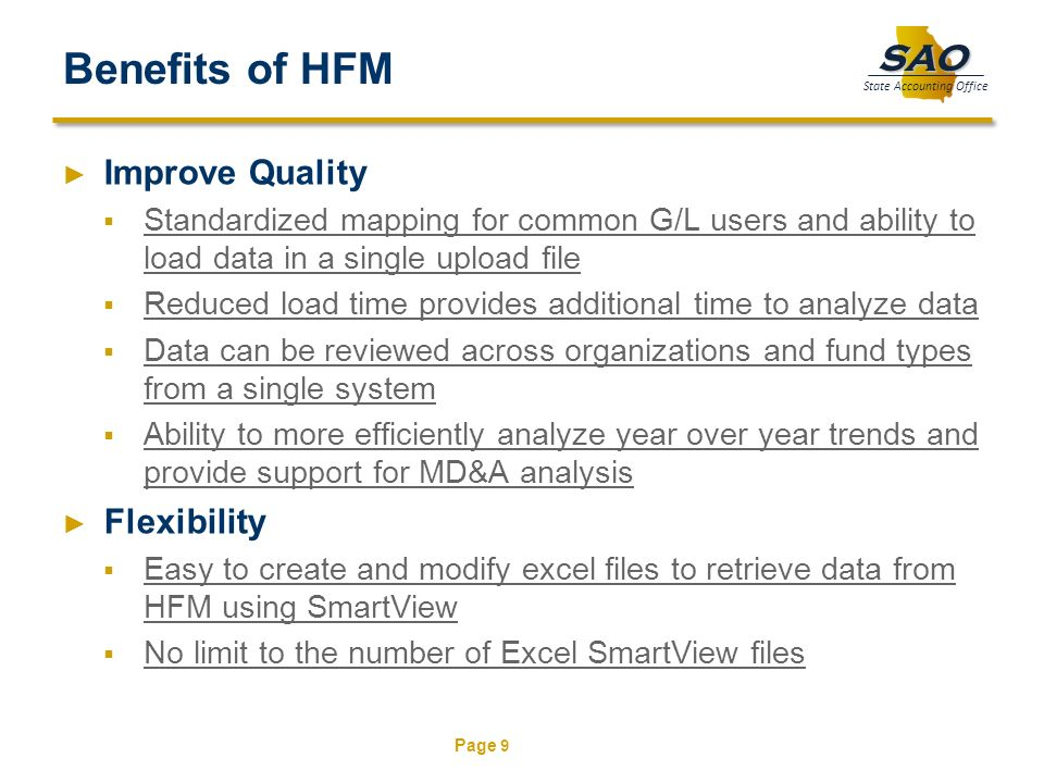 Benefits of HFM Improve Quality Flexibility