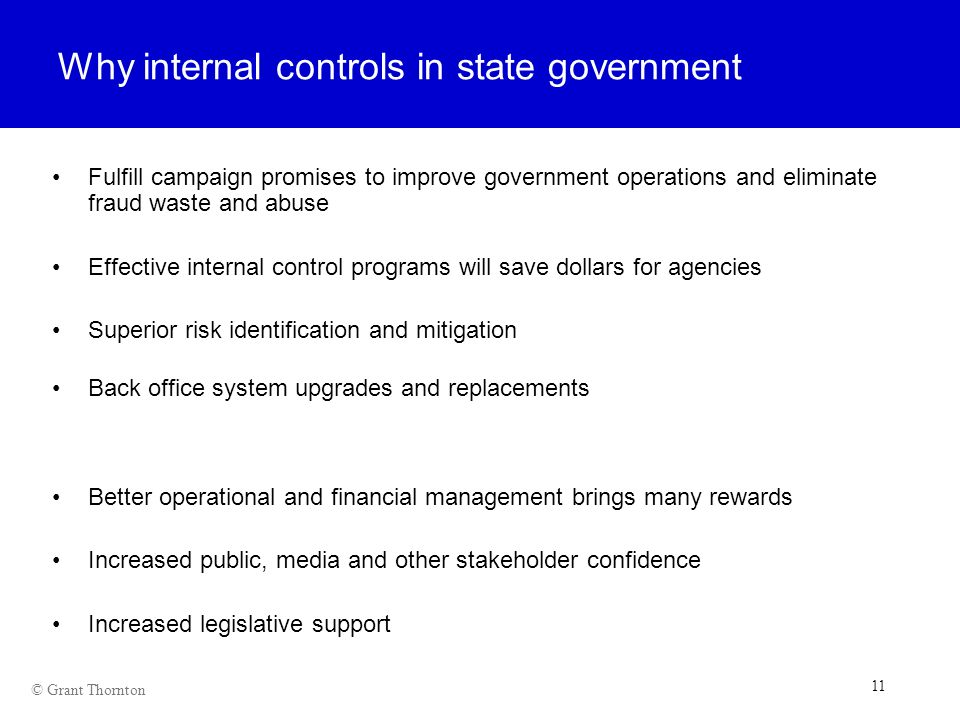 Why internal controls in state government