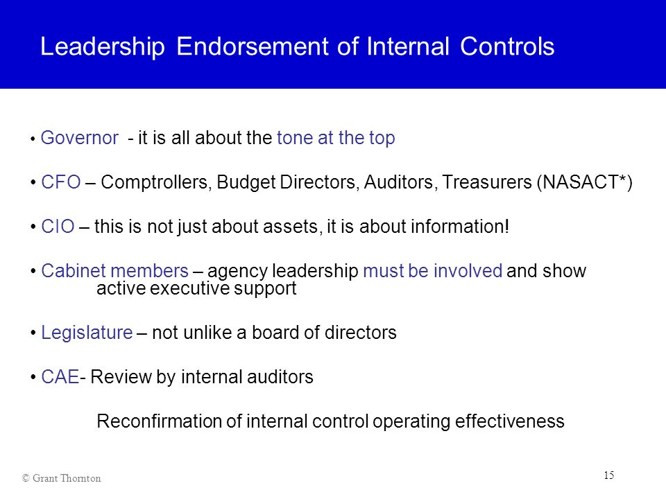 Leadership Endorsement of Internal Controls
