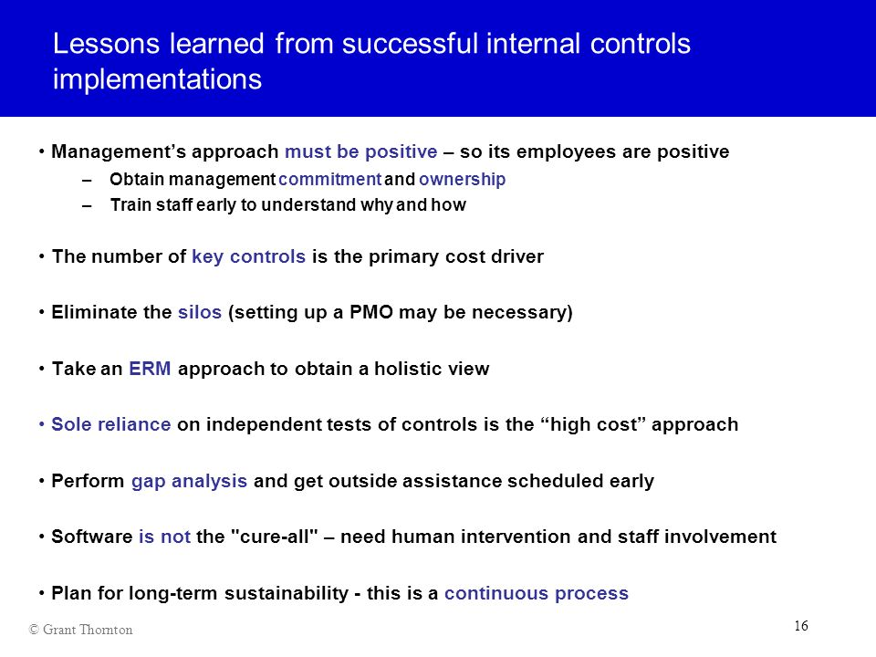 Lessons learned from successful internal controls implementations