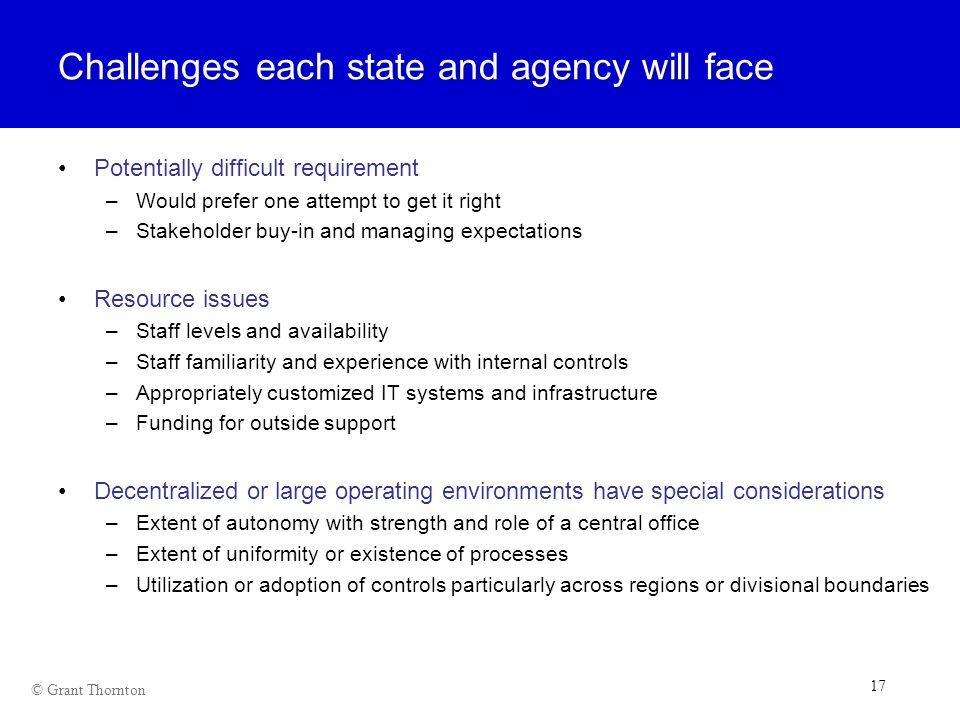 Challenges each state and agency will face