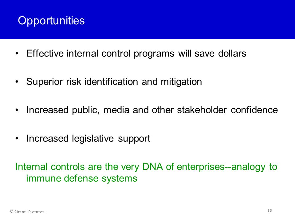 Opportunities Effective internal control programs will save dollars