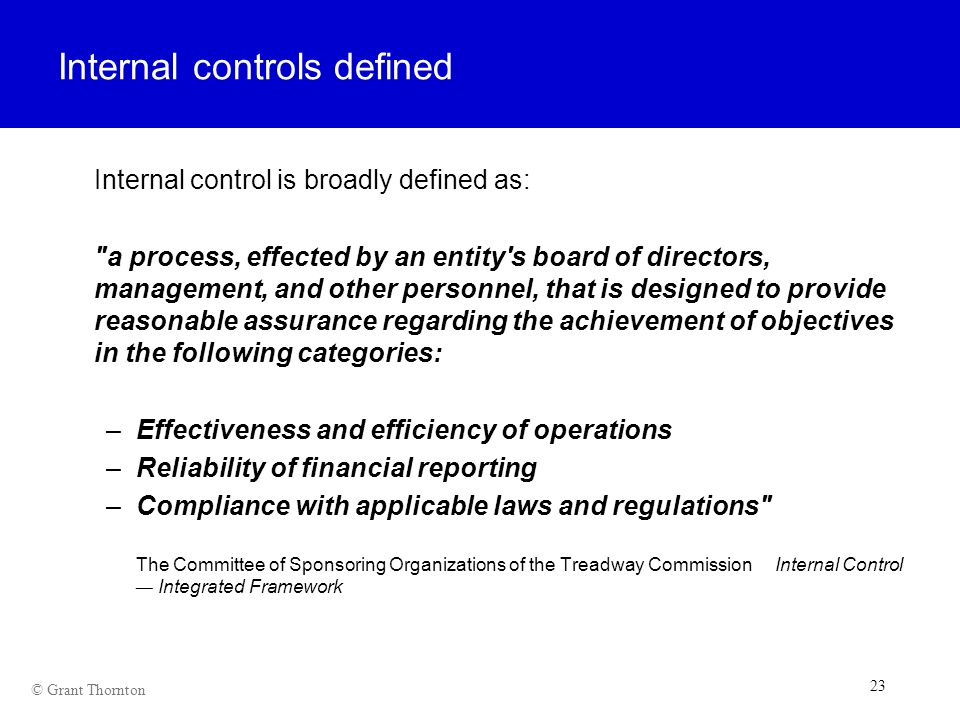 Internal controls defined
