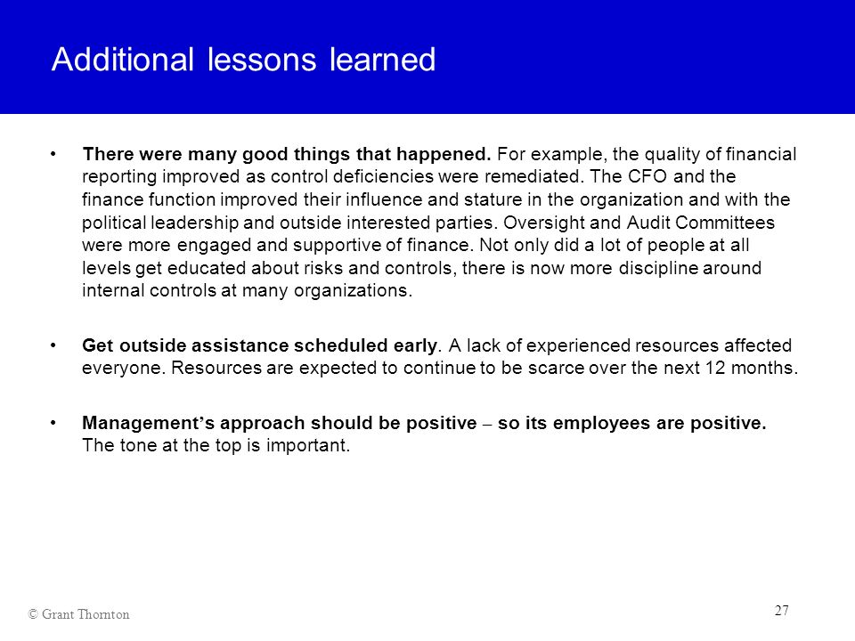 Additional lessons learned