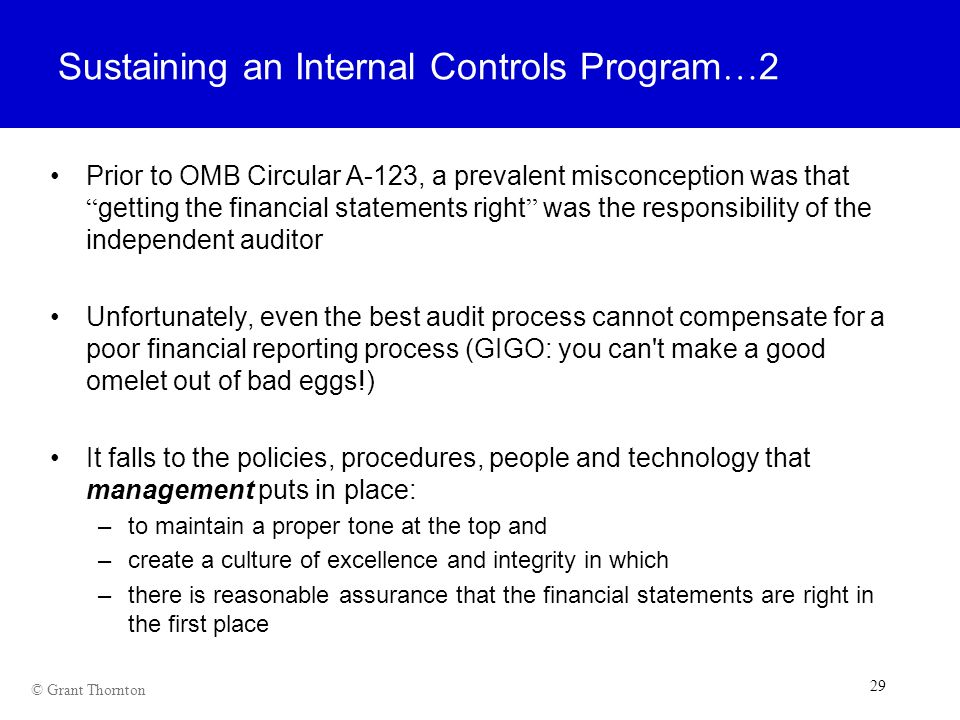 Sustaining an Internal Controls Program…2