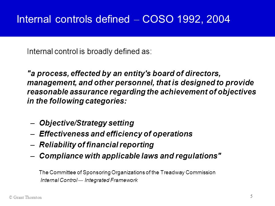 Internal controls defined – COSO 1992, 2004