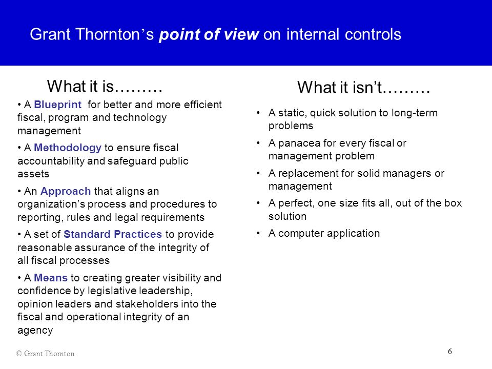 Grant Thornton's point of view on internal controls