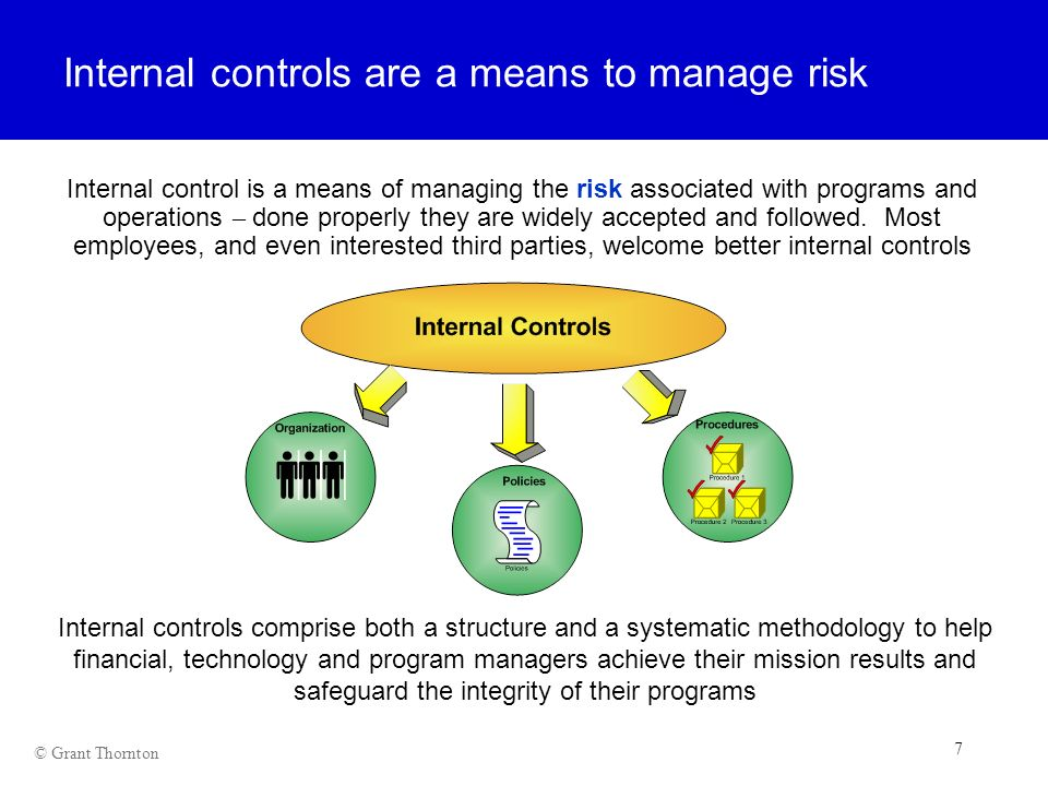Internal controls are a means to manage risk