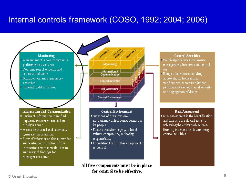 Internal controls framework (COSO, 1992; 2004; 2006)