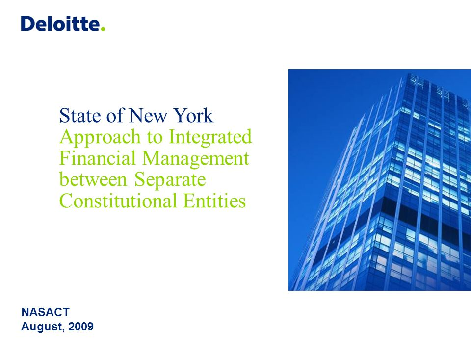 State of New York Approach to Integrated Financial Management between Separate Constitutional Entities