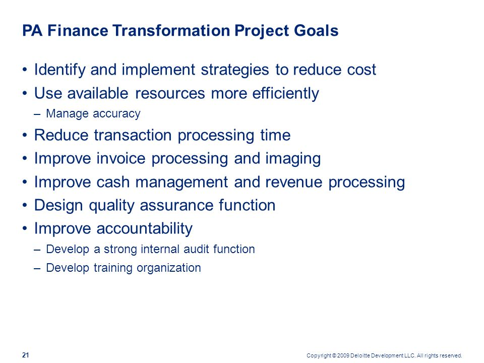 PA Finance Transformation Project Goals