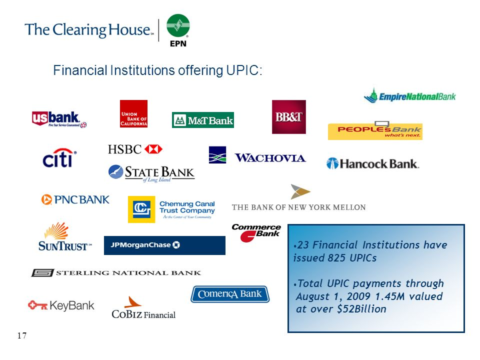 Financial Institutions offering UPIC: