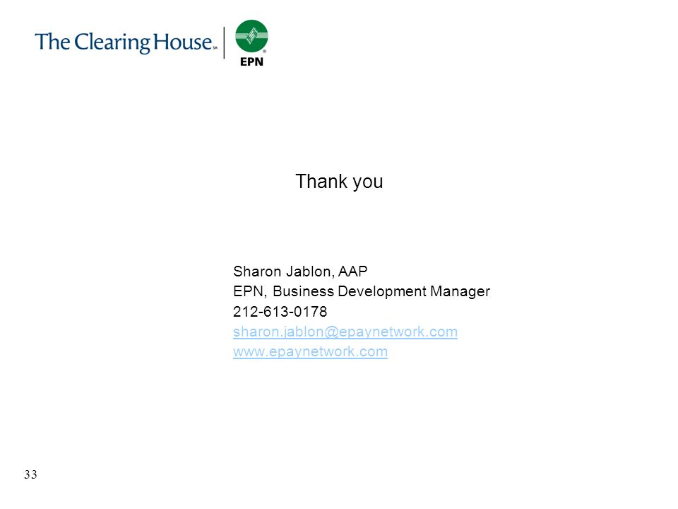 Thank you Sharon Jablon, AAP EPN, Business Development Manager