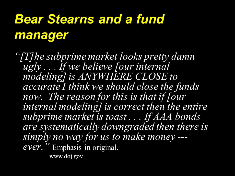Bear Stearns and a fund manager