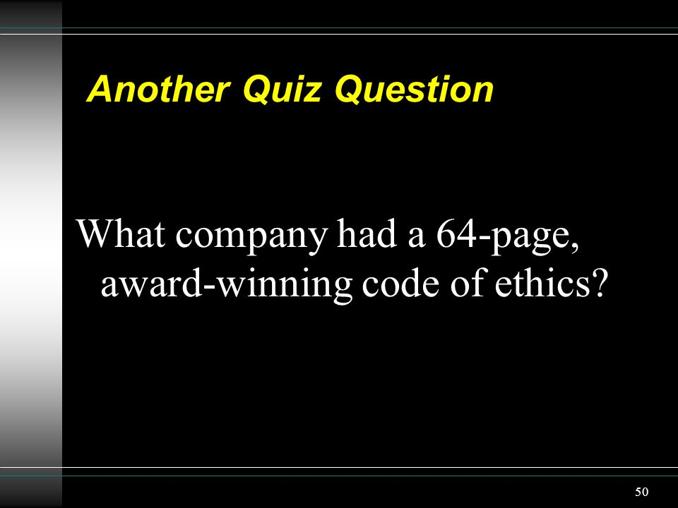 What company had a 64-page, award-winning code of ethics