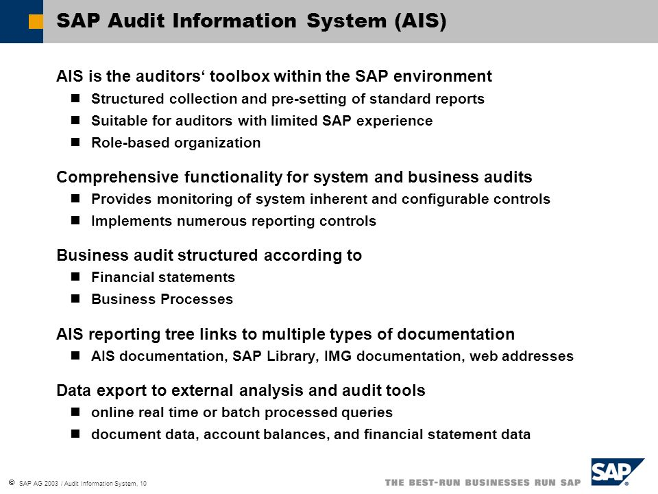SAP Audit Information System (AIS)