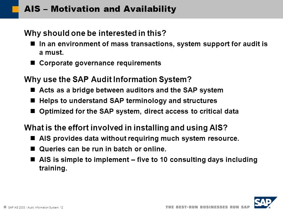 AIS – Motivation and Availability