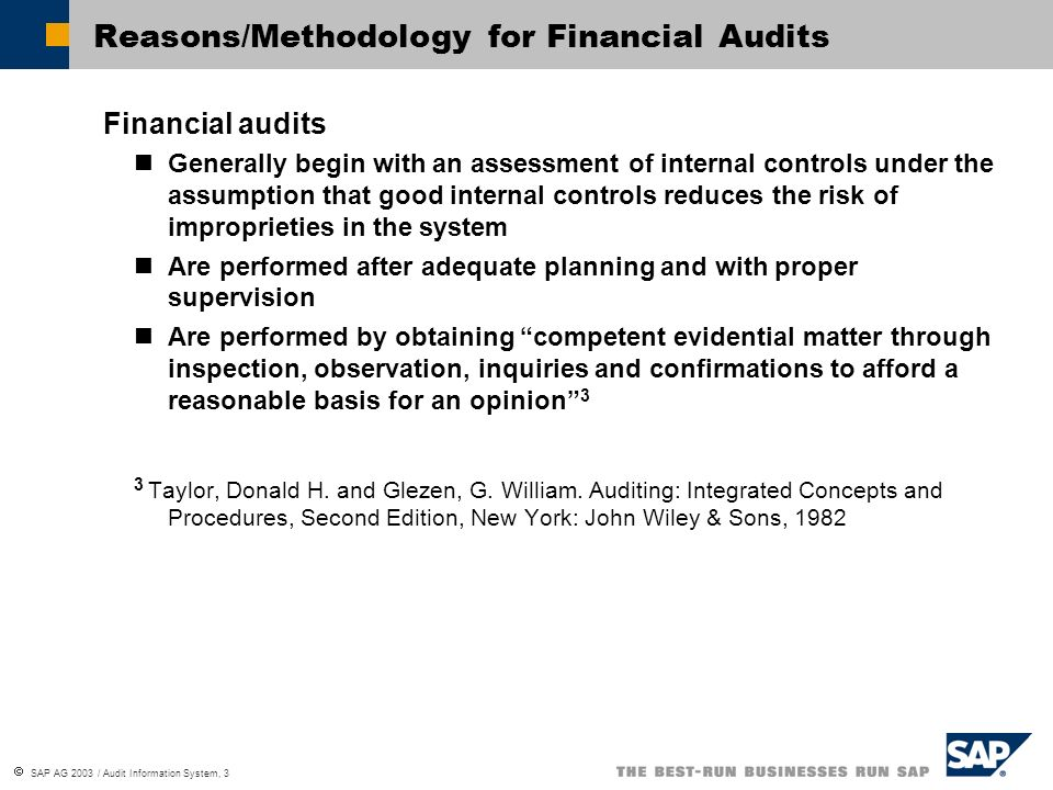 Reasons/Methodology for Financial Audits