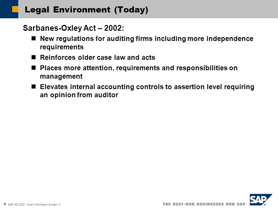Legal Environment (Today)
