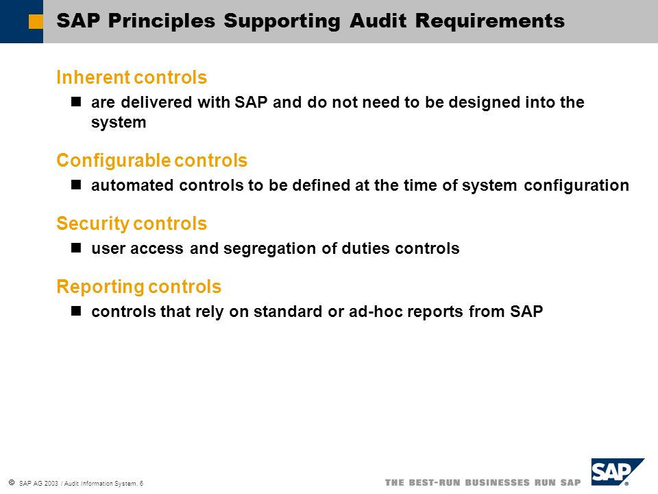 SAP Principles Supporting Audit Requirements