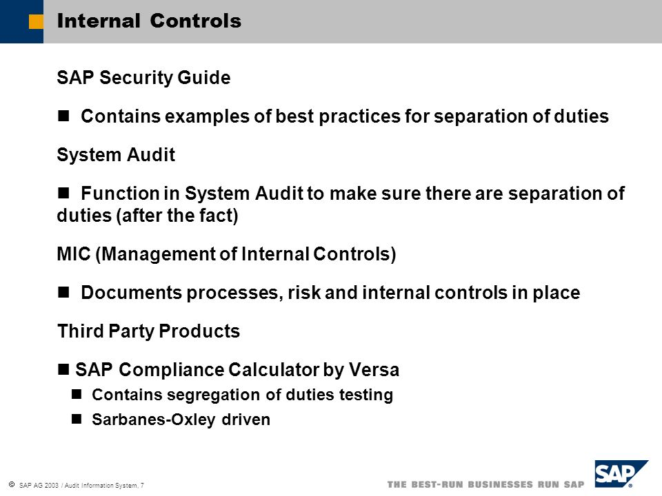 Internal Controls SAP Security Guide